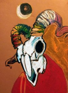 Mazarine Treyz Skull Art Encaustic Monotype